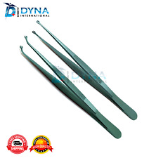 """2Pcs Corn Suture Angled & Straight Pliers 6"""" Surgical Forceps Tweezers Dental"""