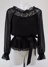 Adrianna Papell Off the Shoulder Long Sleeve Peplum Top Lace Neck Detail Size S