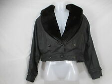 PELLE CUIR Womens Vtg. 80's Leather Bomber Jacket Medium Gray Mouton Thinsulate
