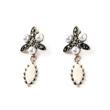 Boucles d'Oreilles Clips Pinces Art Deco Blanc Gris Perle Goutte Vintage J7