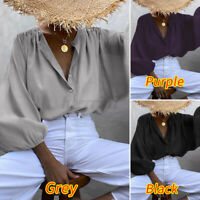 UK Ladies Vintage V-Neck Work Top Long Sleeve OL Womens Button Front Blouse 8-26