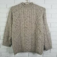 Vtg Thomas Keeling Fisherman Rollneck Cable Knit Sweater S Oatmeal England Wool