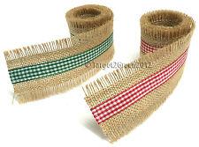 GINGHAM Check Frayed Natural Christmas Jute Burlap Hessian Rustic Ribbon Tape