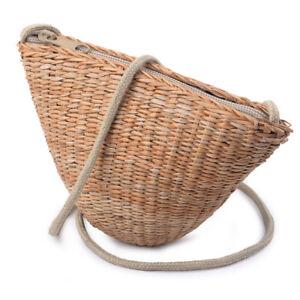 Women By Handmade Natural Straw Woven Bag Handbag Summer Beach Tote Shoulder Bag