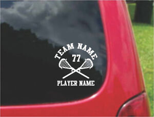 Set Lacrosse Sports Decals with FREE custom text   20 Colors To Choose From