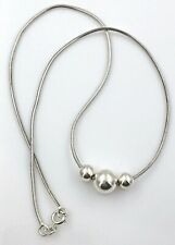 """Vintage Modernist .925 Sterling Silver 3 Bead Chain Necklace, 17"""""""