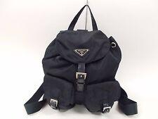 Auth PRADA Milano Navy Nylon Leather Backpack Bag Purse ITALY 561 *