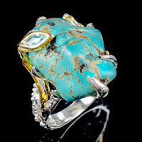Handmade Natural Turquoise 925 Sterling Silver Ring Size 8.5/R123438