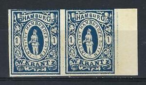 Germany 1863 Hamburg Private Post Krantz messenger pair MNH Forgery