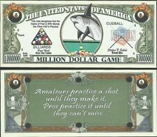 Pool Shark Million Dollar Game Bill Collectible Fake Funny Money Novelty Note