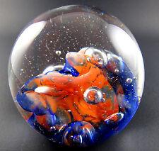 MDINA GLASS MALTA ART  SWIRL GLASS BALL PAPERWEIGHT CONTROLLED  BUBBLES (W5-3)