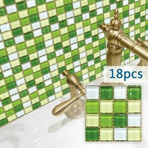 18PCS Simulation Mosaic PVC Tile Wall-Stickers For Kitchen Bathroom Waterproof