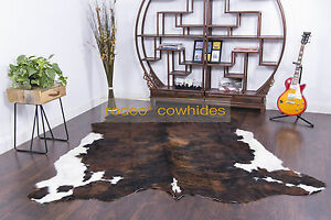 Dark Brindle white belly Rodeo Cowhide Rug Classic style ---DB1