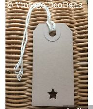 Vintage Style Gift/ Luggage Tags - Star Cut Out - Pack of 10- Birthday Christmas