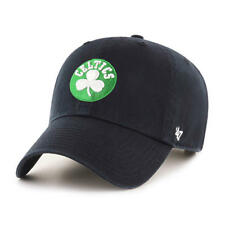 Boston Celtics 47 Brand Clean Up Mens Black Strapback Adjustable Dad Hat Cap