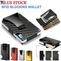 RFID Men Elastic Band Blocking Slim Money Clip Credit Card Holder Wallet Purse