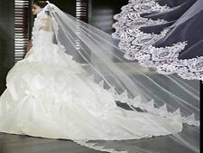 215v Elegant Bridal White Mantilla Embroidered Lace Work Edge 3m Wedding Veil