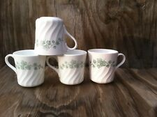 Corelle Dishes Callaway Green Ivy Swirled Cups Mugs Set Of 4