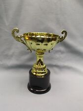 Cmc102G gold metal Cup trophy award round black base