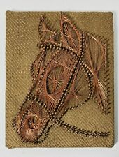 Vintage Copper String Wire Wall Art Handmade Western Horse Head on Burlap