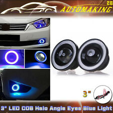 "3"" COB LED Fog Light Kit + Projector Car Lamp Blue Halo Angel Eye Ring DRL Bulb"