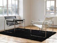 Poltrona wassily bianca o nera Marcel Breuer cuoio acciaio pelle vera design