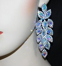 SILVER AB IRIDESCENT MARQUISE AND ROUND RHINESTONE CRYSTAL PARTY EARRINGS
