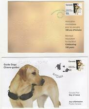 Canada Fdc 2008 Guide Dogs with Braille lettering on 2 attractive covers |