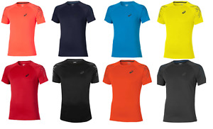 Asics Men's Sports T-Shirt Striped Short Sleeve Training T-Shirts - New