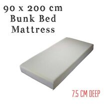 90 x 200 CM BUNK BED REFLEX FOAM MATTRESS + WASHABLE ZIPCOVER 3 INCH(7.5cm) Deep