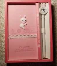 Cute Pink Rabbit Notebook, journal, diary, white rabbit ink pen. gift for girls