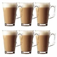 6 x Tea Cappuccino Glass Tassimo Coffee Cups Mugs Latte Glasses 240ml