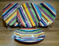 "SET OF 4 - TABLETOPS UNLIMITED - MULTICOLOR BARCELONA - 8 1/2"" SALAD PLATES"