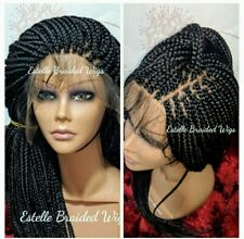 Full Frontal Lace Wig, Braided Wig, Box Braids Wig, Available in Black or Brown