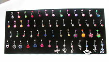 Display stand full of navel bars body jewellery, dangle gem roses hearts etc