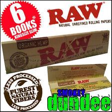 6 RAW ORGANIC King Size Slim Hemp Rolling Papers Vegan