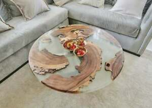 Clear Resin Handmade Wooden Round Coffee end Bedside Top Table Handmade Decor