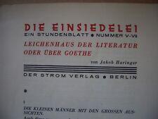 JAKOB HARINGER leichenhaus der literatur (1928) DIE EINSIEDELEI expressionismus