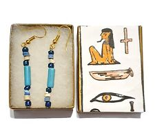 EGYPTIAN REVIVAL, 500BC FAIENCE BEAD EARRINGS, HIEROGLYPHIC GIFT BOX & POUCH