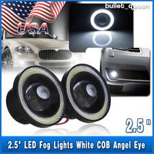 2x 2.5 Inch Car Projector LED Fog Light COB Halo Angel Eye Ring Bulb White Xenon