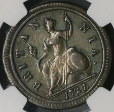 1721/0 NGC VF 1/2 Penny George I GREAT BRITAIN Rare Overdate Coin (17011708CZ)