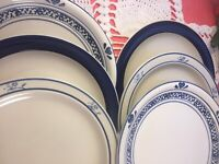 6 Vintage Mismatched China Ironstone Dinner Plates Blue White Transferware #283