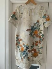 H&M Conscious Exclusive Floral Embroidered Beaded Silk Mini Dress Size 10 BNWT