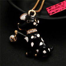 Betsey Johnson  Rhinestone puppy Dog  necklace & free gift Pink or blue