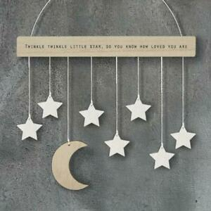 Wooden Moon And Stars Hanging Nursery Decoration - New Baby Gift - East of India