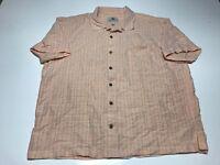 Island Shores Mens Short Sleeve Shirt Size XXL 2XL Button Front Peach Plaid EUC