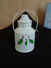 """MILK CAN ORNAMENT 2.5"""" White Holly Berries Hand Painted Metal Christmas"""