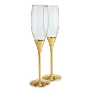 Champagne Flutes Elegant Gold Stem Crystal Design