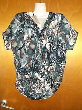Amaryllis V-Neck S/Sleeved Pleat Detail Floral Top XS 8 Blue Mix BNWT