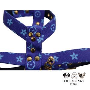 Designer Dog Harness Lead Non-Pull XL XXL XS Puppy Medium Faux-Leather Luxury UK